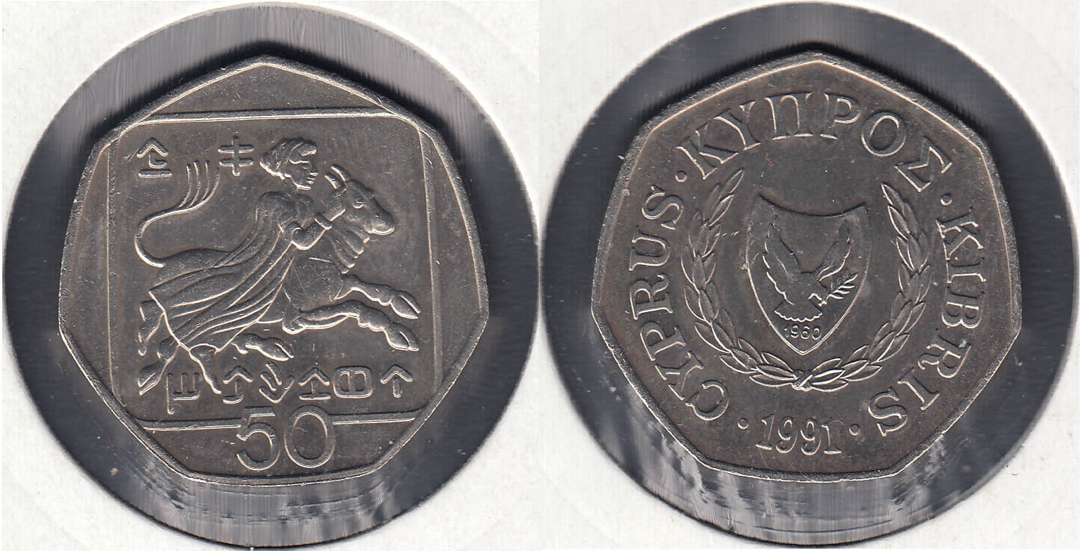 CHIPRE - CYPRUS. 50 CENTIMOS (CENTS) DE 1991.