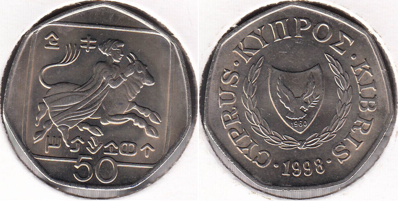 CHIPRE - CYPRUS. 50 CENTIMOS (CENTS) DE 1998.