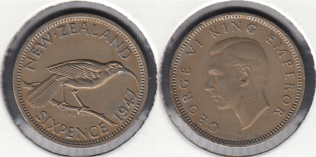 NUEVA ZELANDA - NEW ZEALAND. 6 PENIQUES (PENCE) DE 1947.