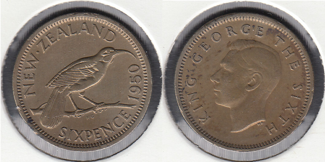 NUEVA ZELANDA - NEW ZEALAND. 6 PENIQUES (PENCE) DE 1950.