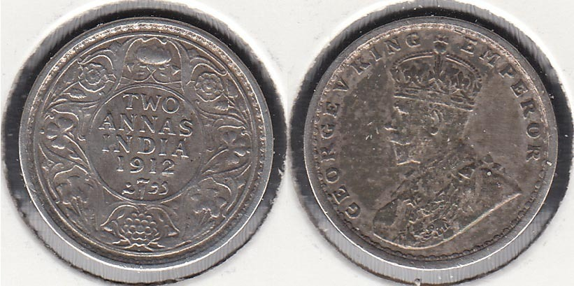 INDIA BRITANICA - BRITISH INDIA. 2 ANNAS DE 1912. PLATA 0.917.