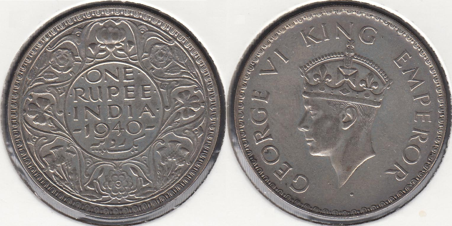 INDIA BRITANICA - BRITISH INDIA. 1 RUPIA (RUPEE) DE 1940. PLATA 0.500.