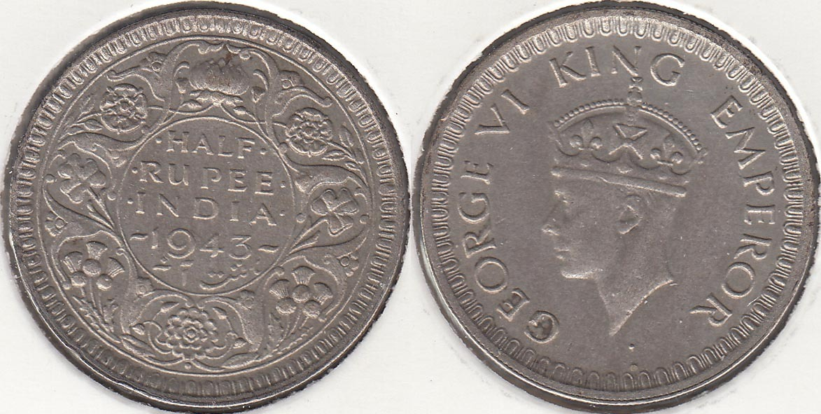 INDIA BRITANICA - BRITISH INDIA. 1/2 RUPIA (RUPEE) DE 1943. PLATA 0.500.