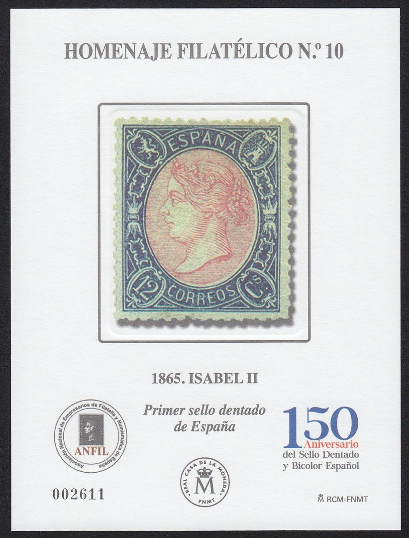 EDIFIL. HOMENAJE FILATELICO Nº 10. 1865 ISABEL II. PRIMER SELLO DENTADO