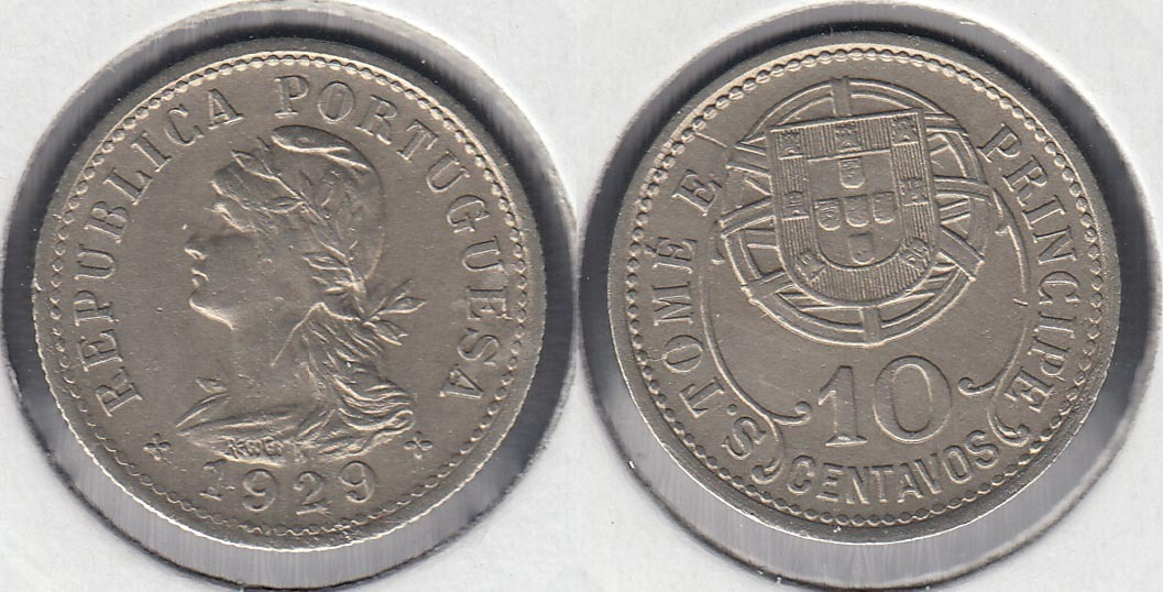 SAINT THOMAS AND PRINCE. 10 CENTAVOS DE 1929.