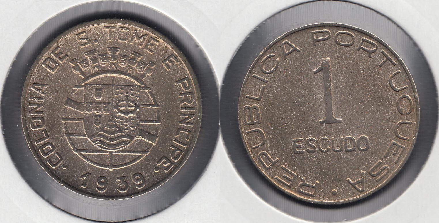 SAINT THOMAS AND PRINCE. 1 ESCUDO DE 1939.