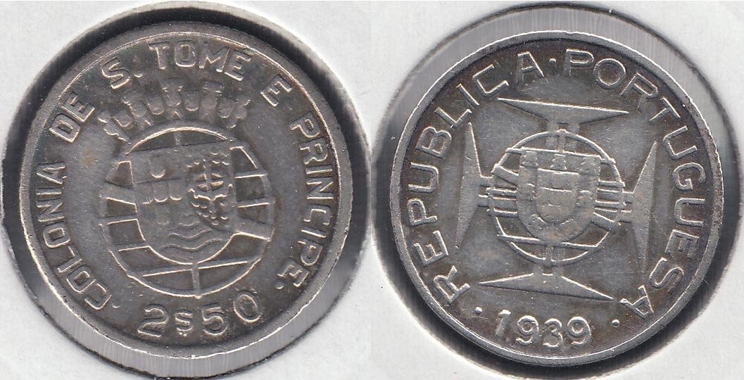 SAINT THOMAS AND PRINCE. 2 1/2 ESCUDOS DE 1939. PLATA 0.650.