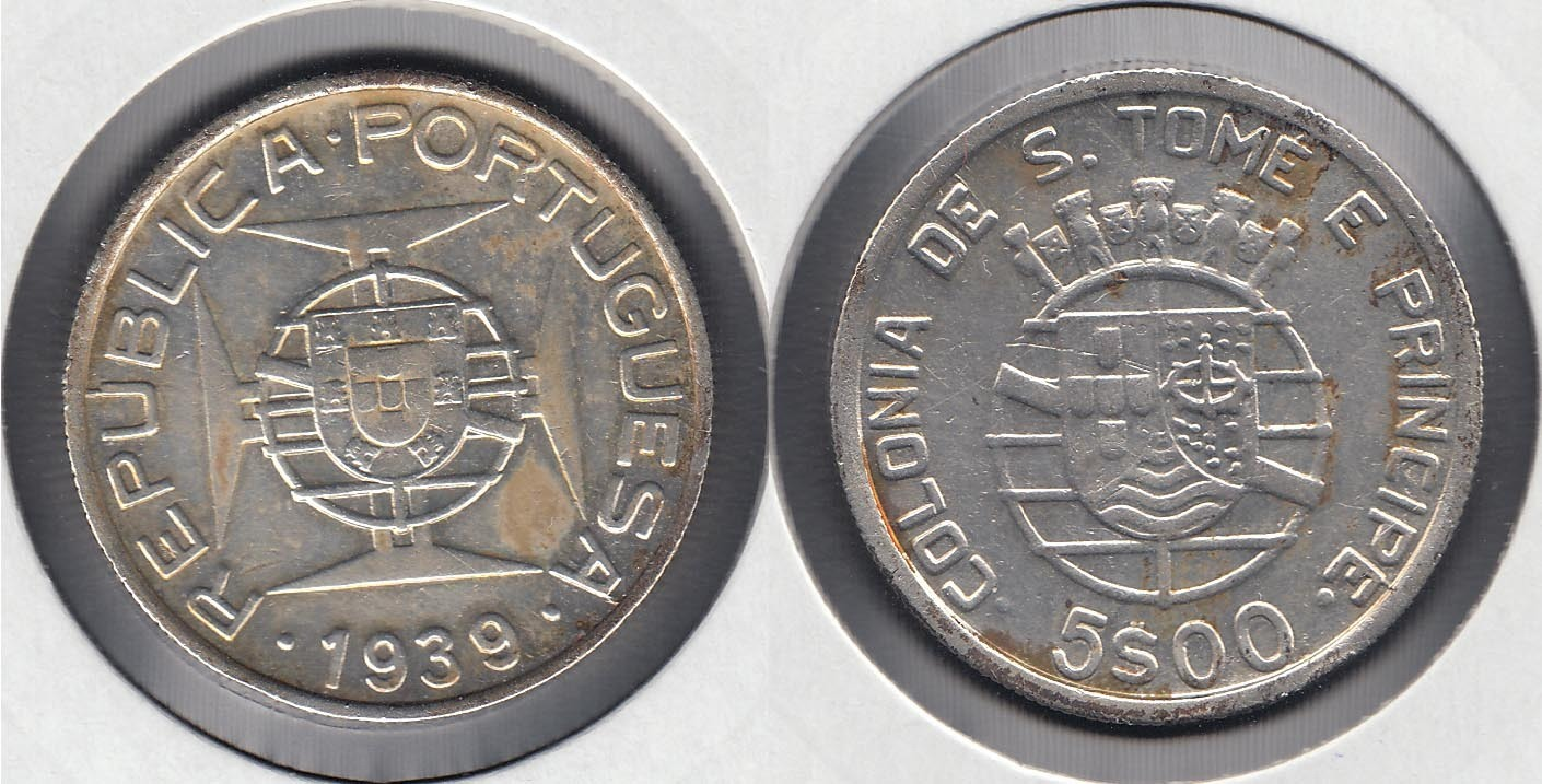 SAINT THOMAS AND PRINCE. 5 ESCUDOS DE 1939. PLATA 0.650.