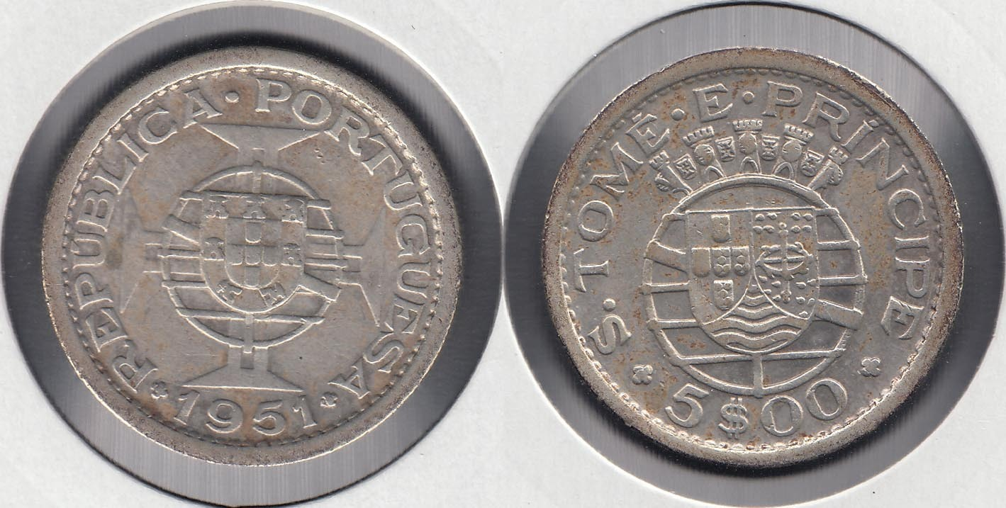 SAINT THOMAS AND PRINCE. 5 ESCUDOS DE 1951. PLATA 0.650.