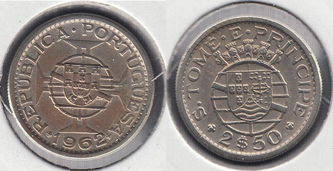 SAINT THOMAS AND PRINCE. 2 1/2 ESCUDOS DE 1962.
