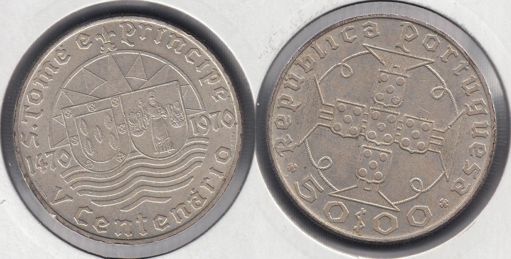 SAINT THOMAS AND PRINCE. 50 ESCUDOS DE 1970. PLATA 0.650.