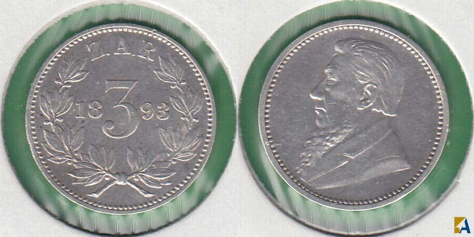 SUDAFRICA - SOUTH AFRICA. 3 PENIQUES (PENCE) DE 1893. PLATA 0.925.