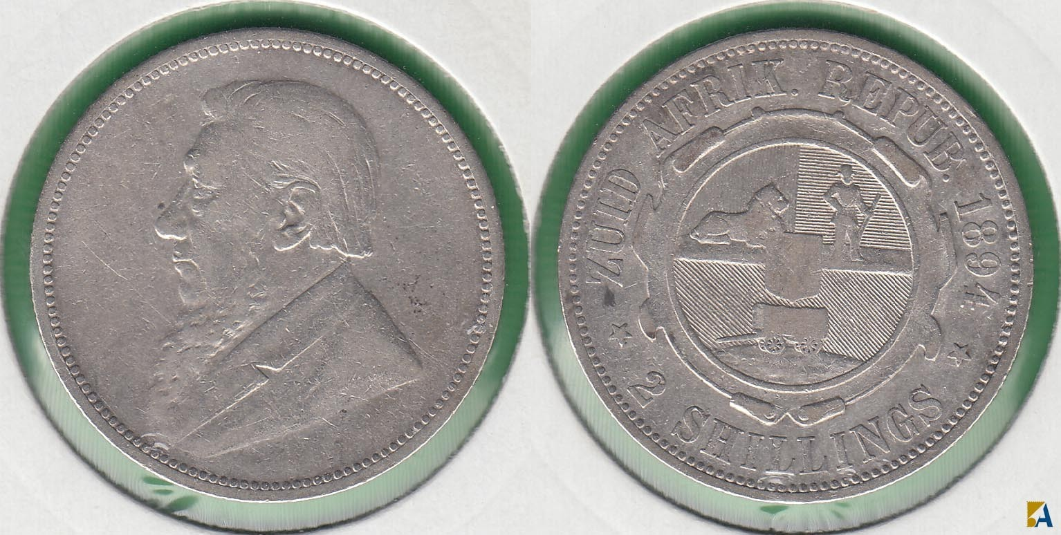 SUDAFRICA - SOUTH AFRICA. 2 SHILLINGS DE 1894. PLATA 0.925.