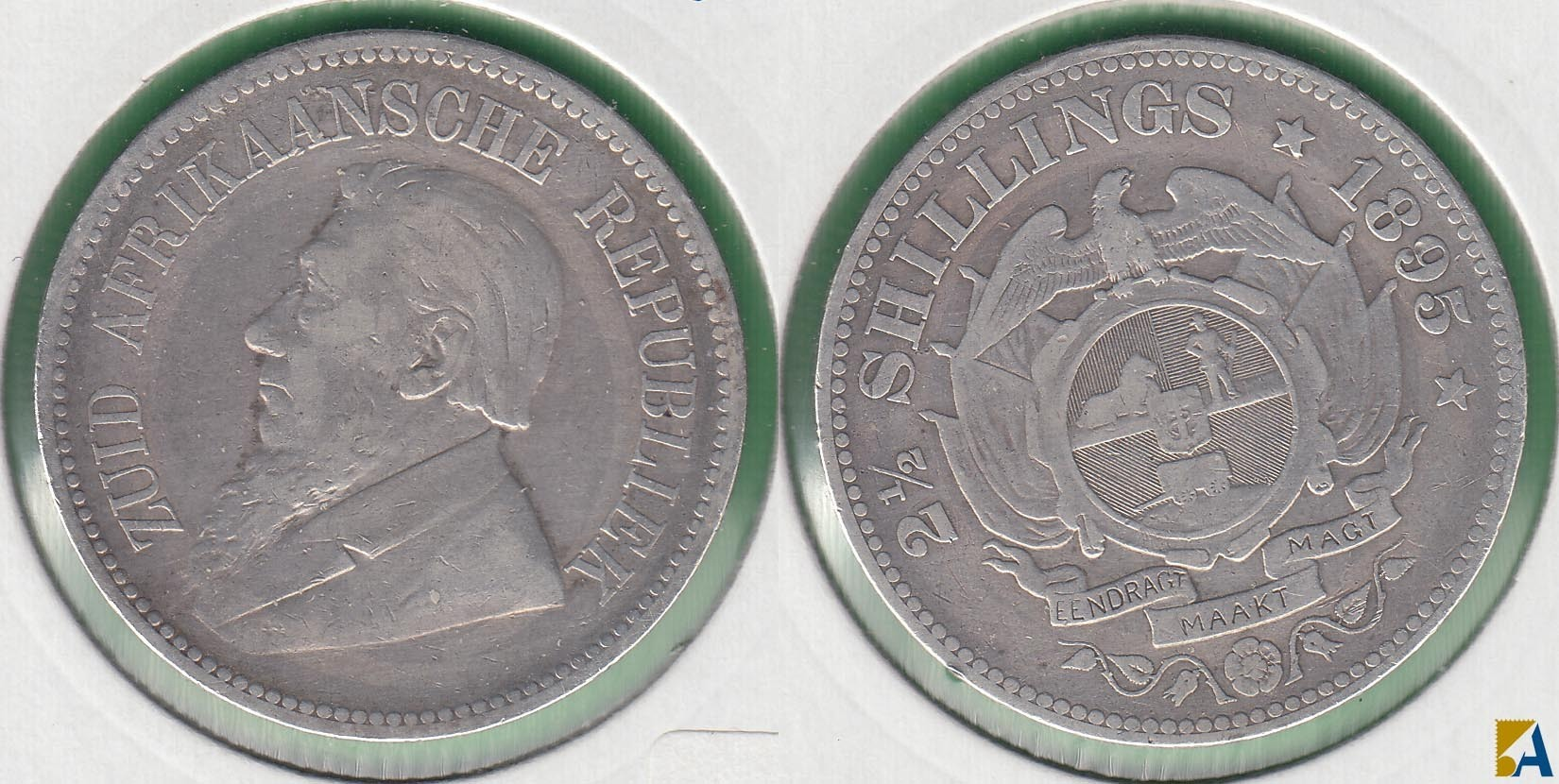 SUDAFRICA - SOUTH AFRICA. 2 1/2 SHILLINGS DE 1895. PLATA 0.925.