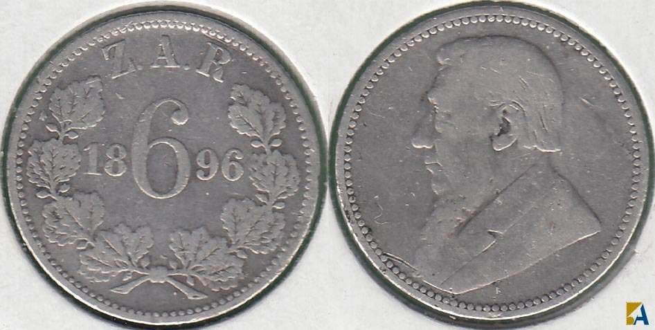 SUDAFRICA - SOUTH AFRICA. 6 PENIQUES (PENCE) DE 1896. PLATA 0.925.