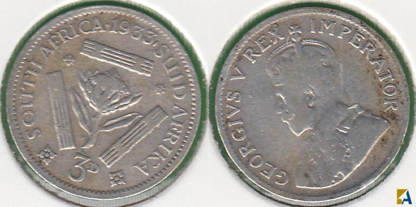 SUDAFRICA - SOUTH AFRICA. 3 PENIQUES (PENCE) DE 1933. PLATA 0.800.