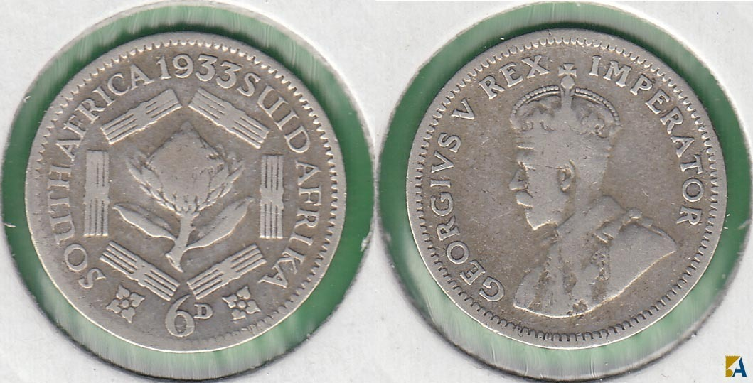 SUDAFRICA - SOUTH AFRICA. 6 PENIQUES (PENCE) DE 1933. PLATA 0.800.