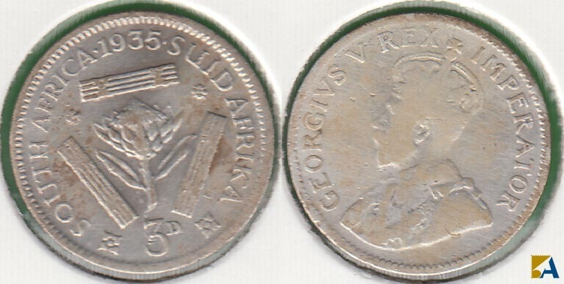 SUDAFRICA - SOUTH AFRICA. 3 PENIQUES (PENCE) DE 1935. PLATA 0.800.