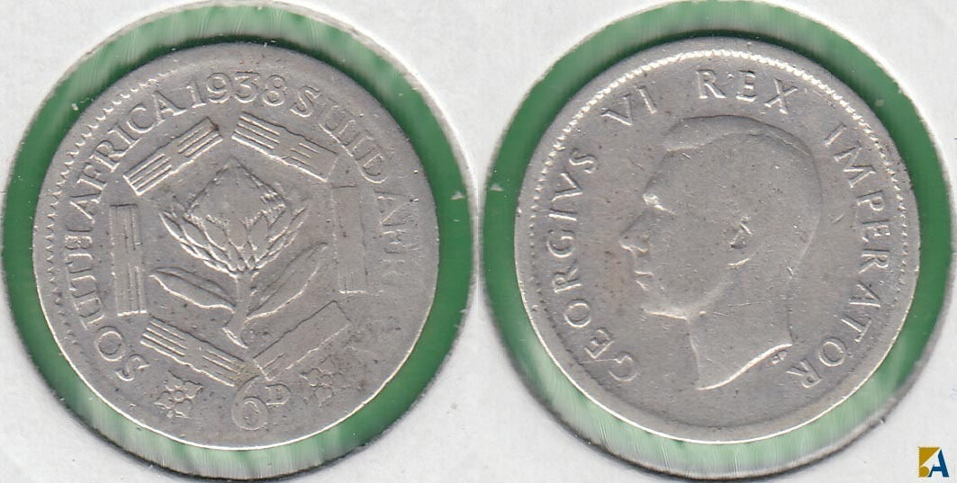 SUDAFRICA - SOUTH AFRICA. 6 PENIQUES (PENCE) DE 1938. PLATA 0.800.