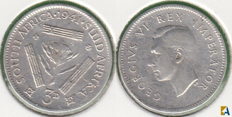 SUDAFRICA - SOUTH AFRICA. 3 PENIQUES (PENCE) DE 1941. PLATA 0.800.