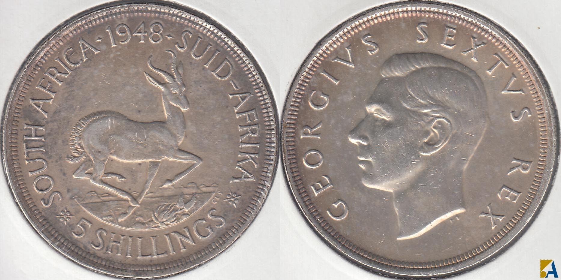 SUDAFRICA - SOUTH AFRICA. 5 SHILLINGS DE 1948. PLATA 0.800. (2)
