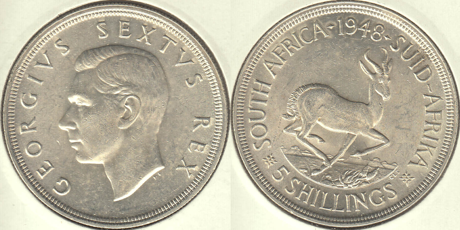 SUDAFRICA - SOUTH AFRICA. 5 SHILLINGS DE 1948. PLATA 0.800.
