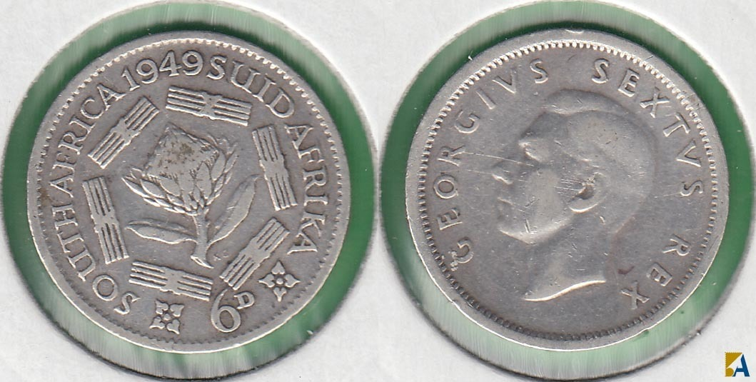 SUDAFRICA - SOUTH AFRICA. 6 PENIQUES (PENCE) DE 1949. PLATA 0.800.