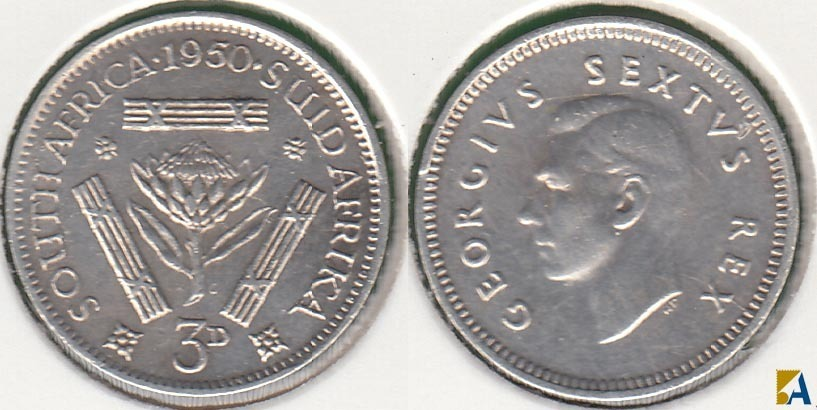 SUDAFRICA - SOUTH AFRICA. 3 PENIQUES (PENCE) DE 1950. PLATA 0.800.
