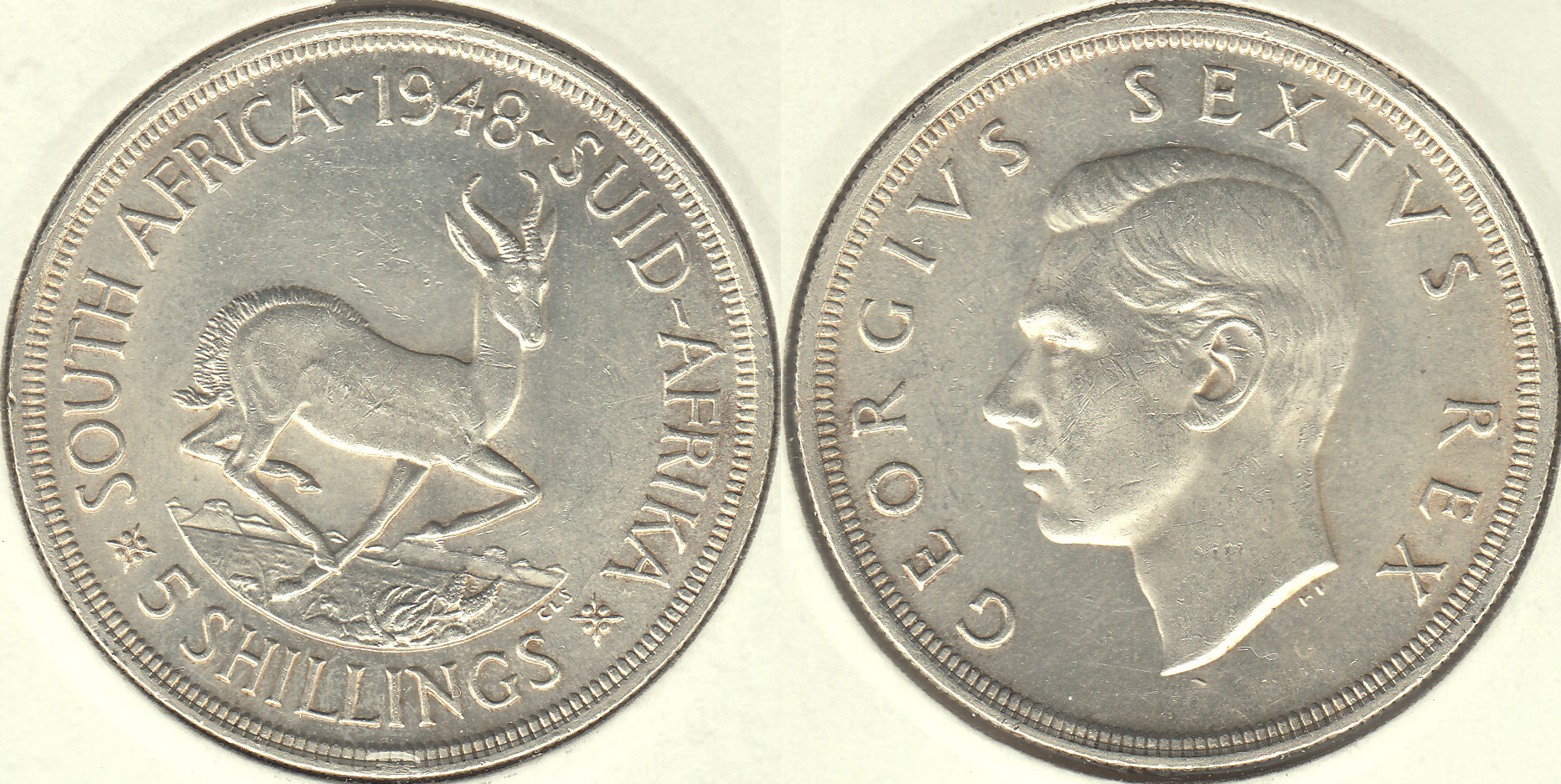 SUDAFRICA - SOUTH AFRICA. 5 SHILLINGS DE 1948. PLATA 0.800. (3)