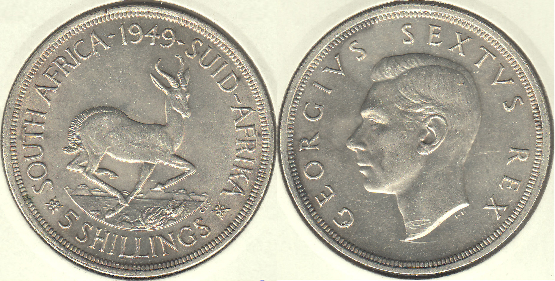 SUDAFRICA - SOUTH AFRICA. 5 SHILLINGS DE 1949. PLATA 0.800.