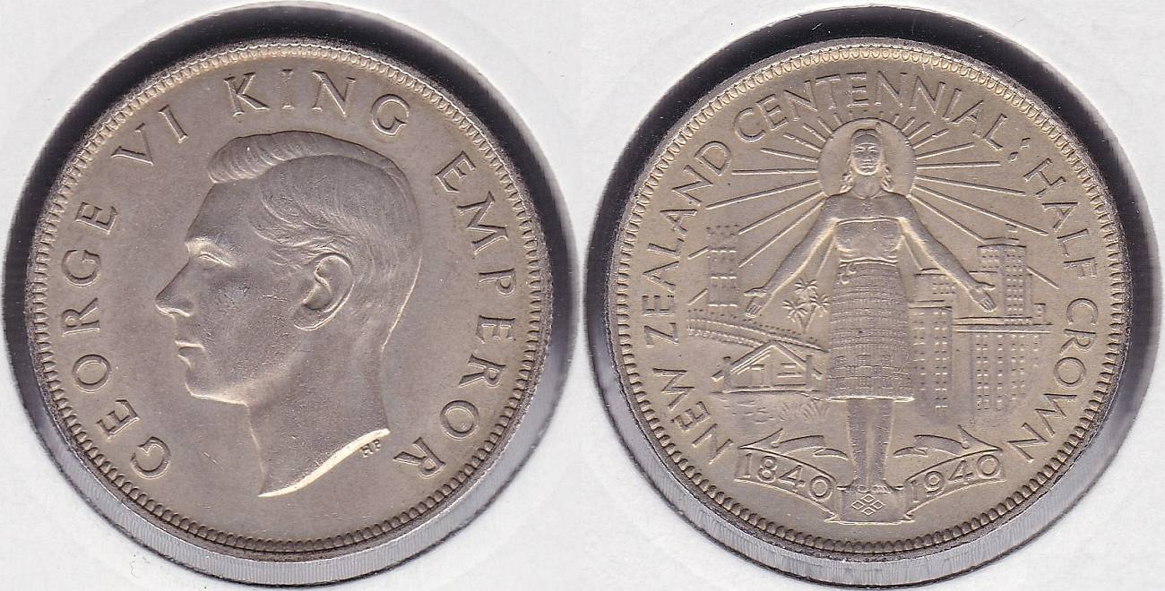 NUEVA ZELANDA - NEW ZEALAND. 1/2 CORONA (CROWN) DE 1940. PLATA 0.500.