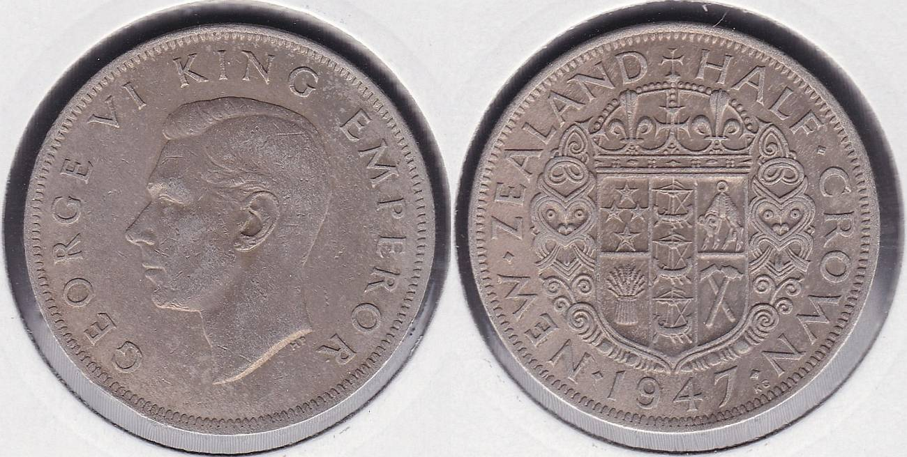 NUEVA ZELANDA - NEW ZEALAND. 1/2 CORONA (CROWN) DE 1947.