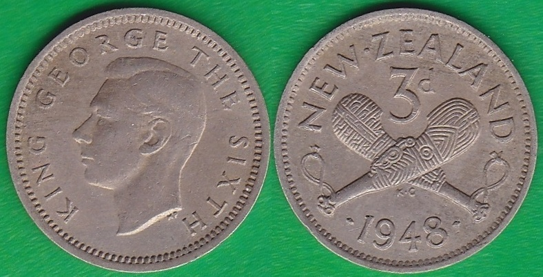 NUEVA ZELANDA - NEW ZEALAND. 3 PENIQUES (PENCE) DE 1948.