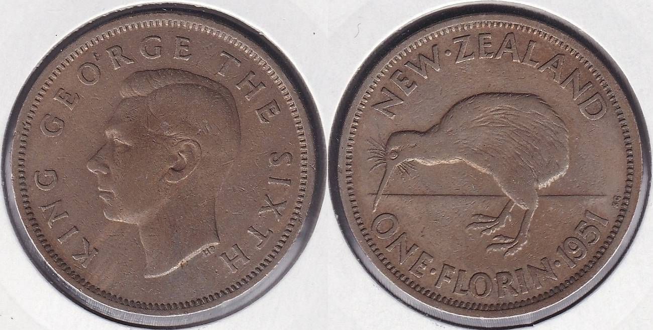 NUEVA ZELANDA - NEW ZEALAND. 1 FLORIN DE 1951.