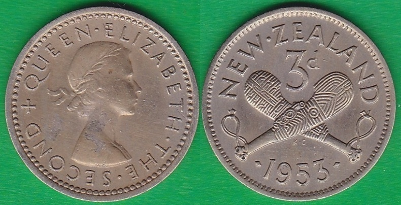 NUEVA ZELANDA - NEW ZEALAND. 3 PENIQUES (PENCE) DE 1953.