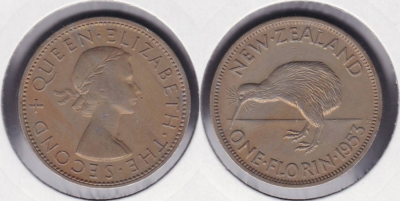 NUEVA ZELANDA - NEW ZEALAND. 1 FLORIN DE 1953.