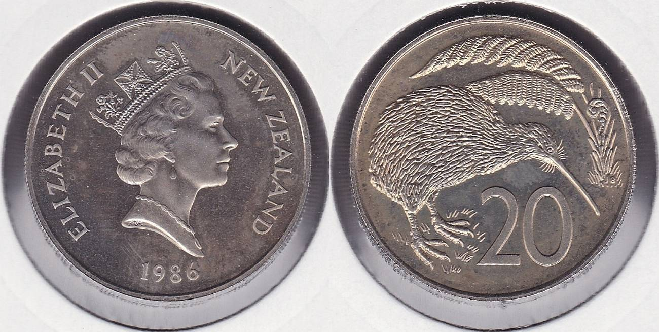 NUEVA ZELANDA - NEW ZEALAND. 20 CENTIMOS (CENTS) DE 1986.