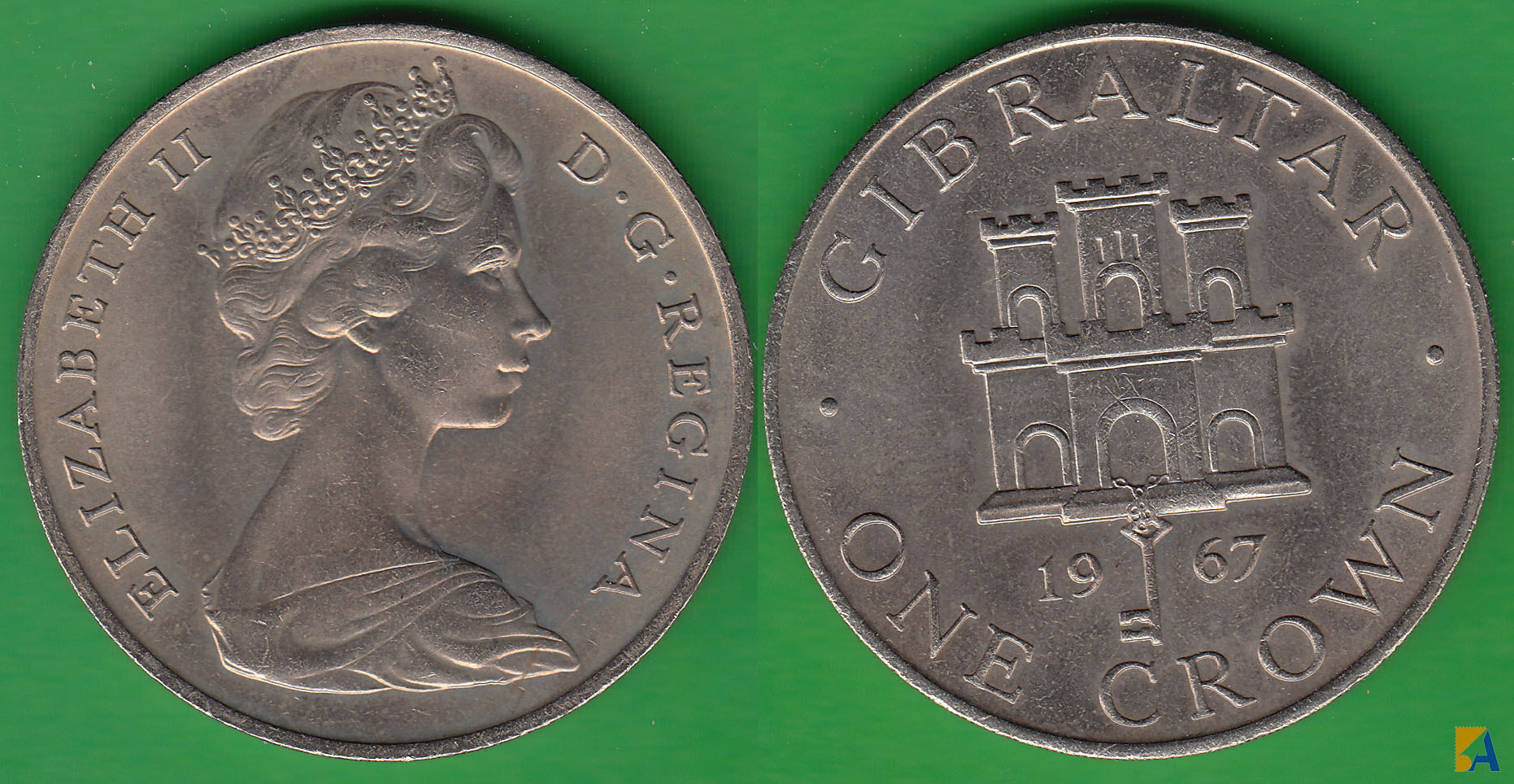 GIBRALTAR. 1 CORONA (CROWN) DE 1967. (2)
