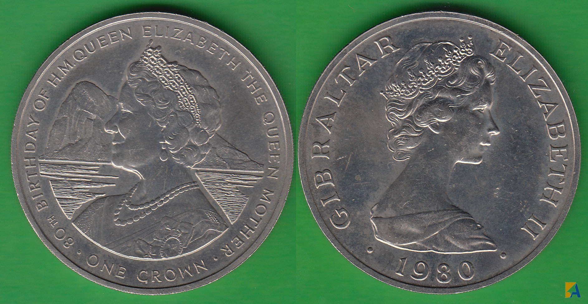 GIBRALTAR. 1 CORONA (CROWN) DE 1980.