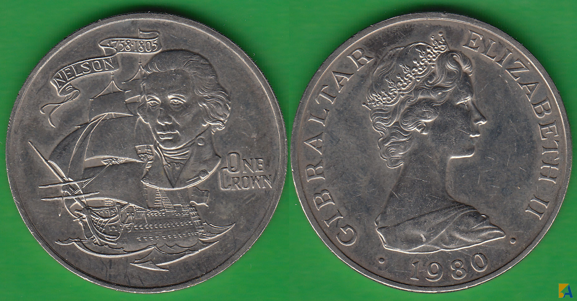 GIBRALTAR. 1 CORONA (CROWN) DE 1980. (2)