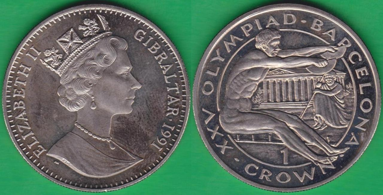 GIBRALTAR. 1 CORONA (CROWN) DE 1991.