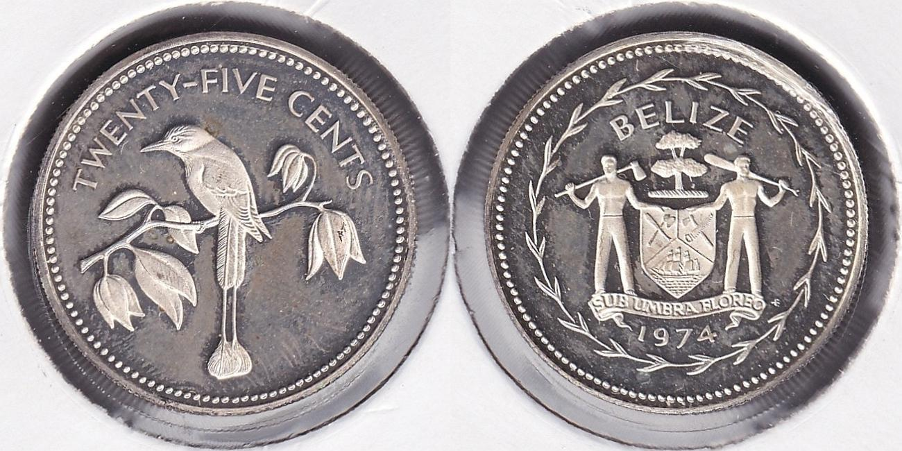 BELIZE. 25 CENTIMOS (CENTS) DE 1974. PLATA 0.925.