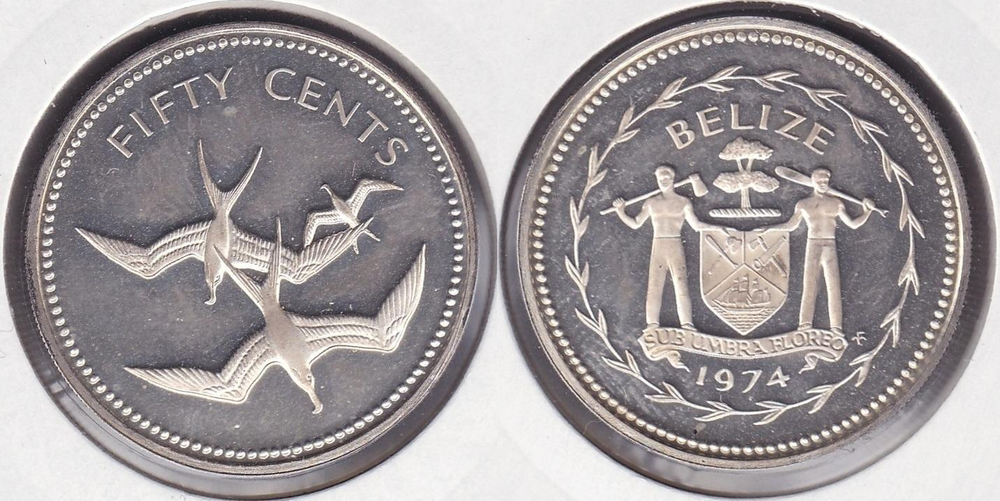 BELIZE. 50 CENTIMOS (CENTS) DE 1974. PLATA 0.925.