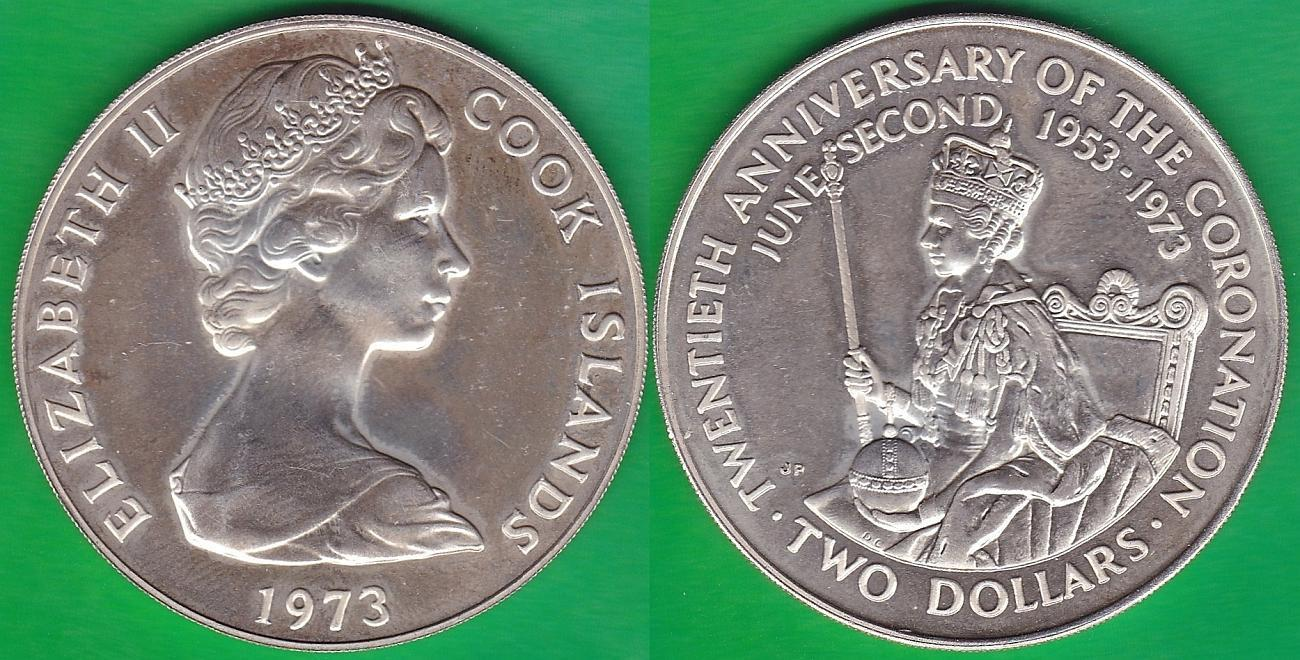 ISLAS COOK - COOK ISLANDS. 2 DOLARES (DOLLARS) DE 1973. PLATA 0.925.
