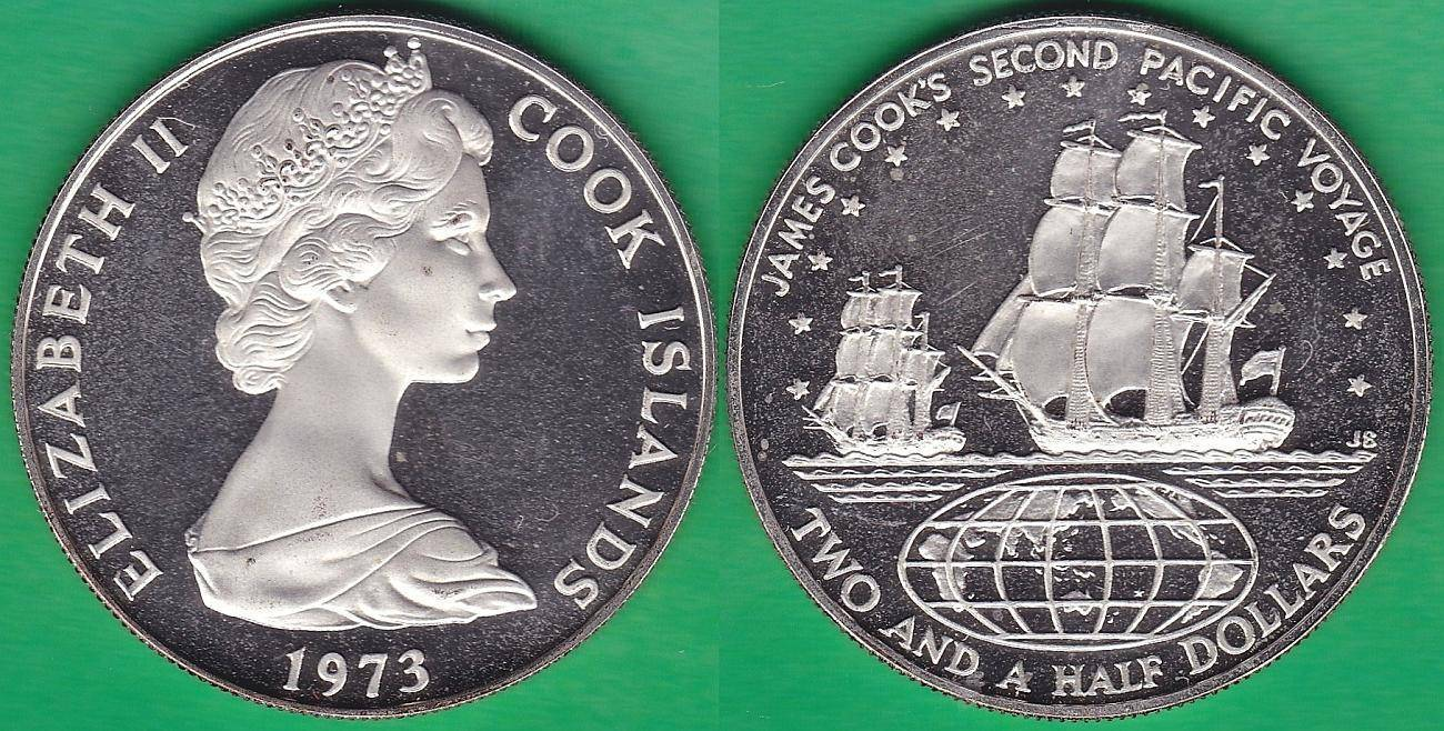 ISLAS COOK - COOK ISLANDS. 2 1/2 DOLLLARS (DOLARES) DE 1973. PLATA 0.9250.