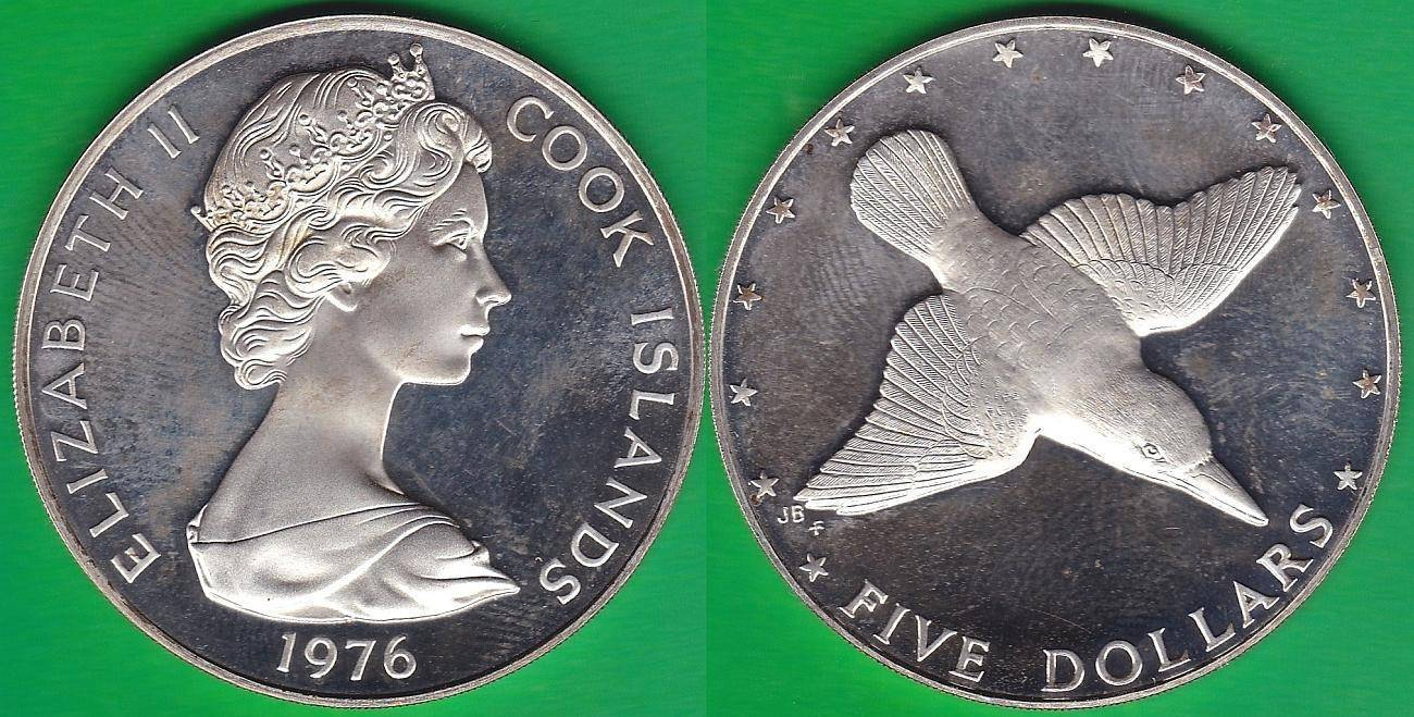 ISLAS COOK - COOK ISLANDS. 5 DOLARES (DOLLARS) DE 1976. PLATA 0.500.