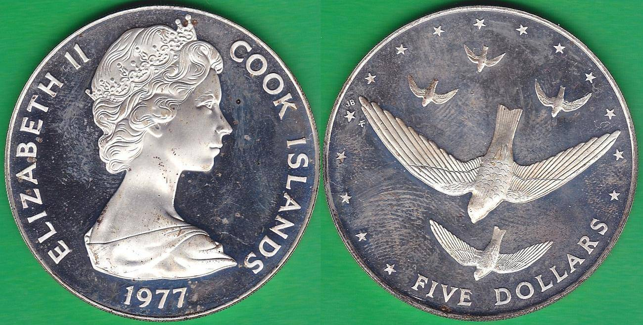 ISLAS COOK - COOK ISLANDS. 5 DOLARES (DOLLARS) DE 1977. PLATA 0.500.