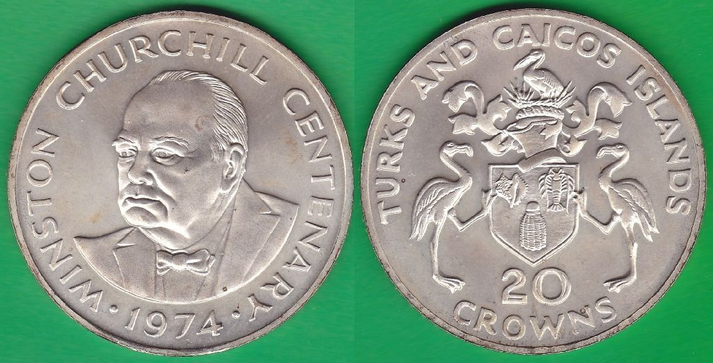 TURKS AND CAICOS. 20 CORONAS (CROWNS) DE 1974. PLATA 0.925.