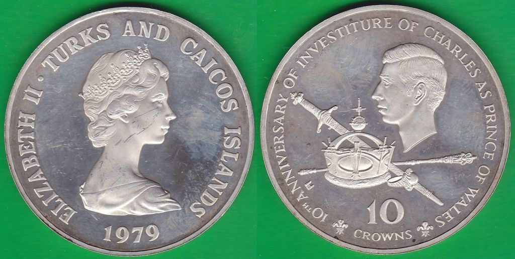 TURKS AND CAICOS. 10 CORONAS (CROWNS) DE 1979. PLATA 0.925.