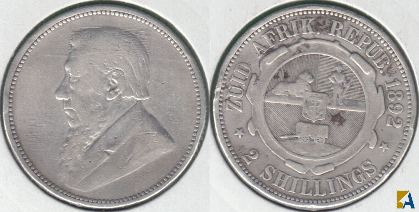 SUDAFRICA - SOUTH AFRICA. 2 SHILLINGS DE 1892. PLATA 0.925.